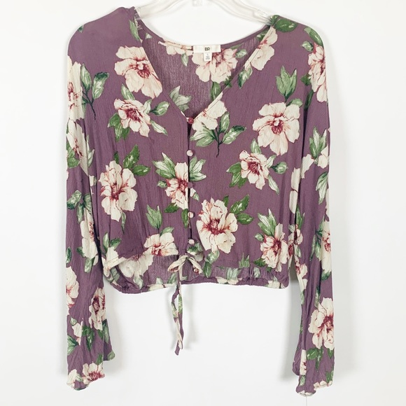 Nordstrom Tops - Nordstrom BP Purple Floral Cropped Top Size Small